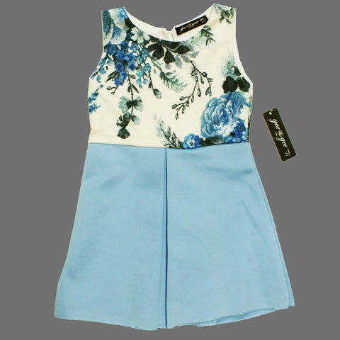 Gee Gee White Flower Printed Top Blue Girls Premium Dress