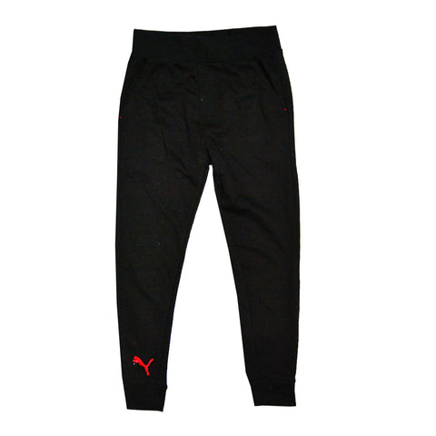 PUMA Embroiered Logo Ribbed Bottom Black Unisex Cotton Fleece Trouser