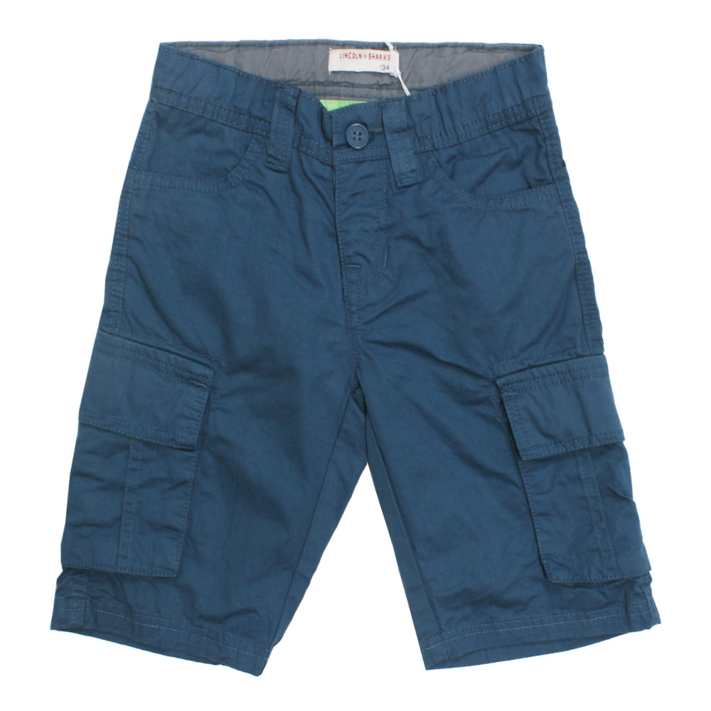 LINCOLN And SHARKS Big Side Pocket Blue Boys Cotton Short