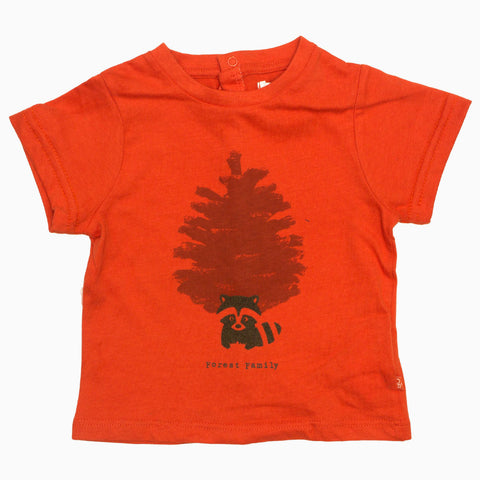 Obaibi Forest Family Orange Boys Premium Cotton Tshirt