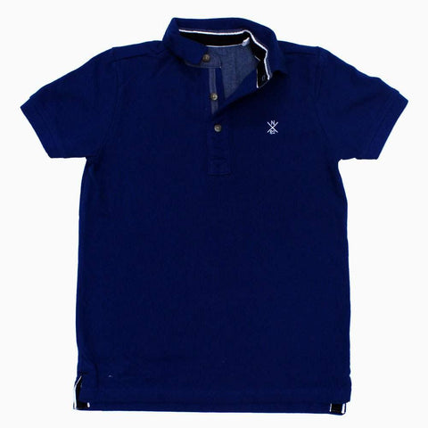 Next Embroidered Boys Pique Cotton Navy Blue Polo