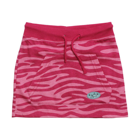 Summer Cotton Girls Pink Pattern Front Pockets Skirt