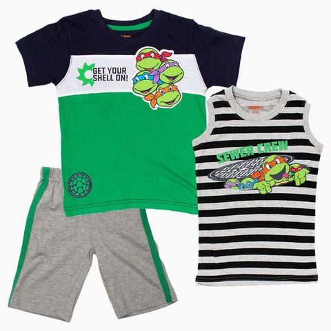 TMNT Get your shell on Blue and Green Boys 3 Piece Set