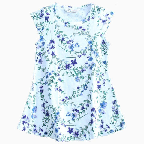 HNM purple flower with leaf pattern white Dress