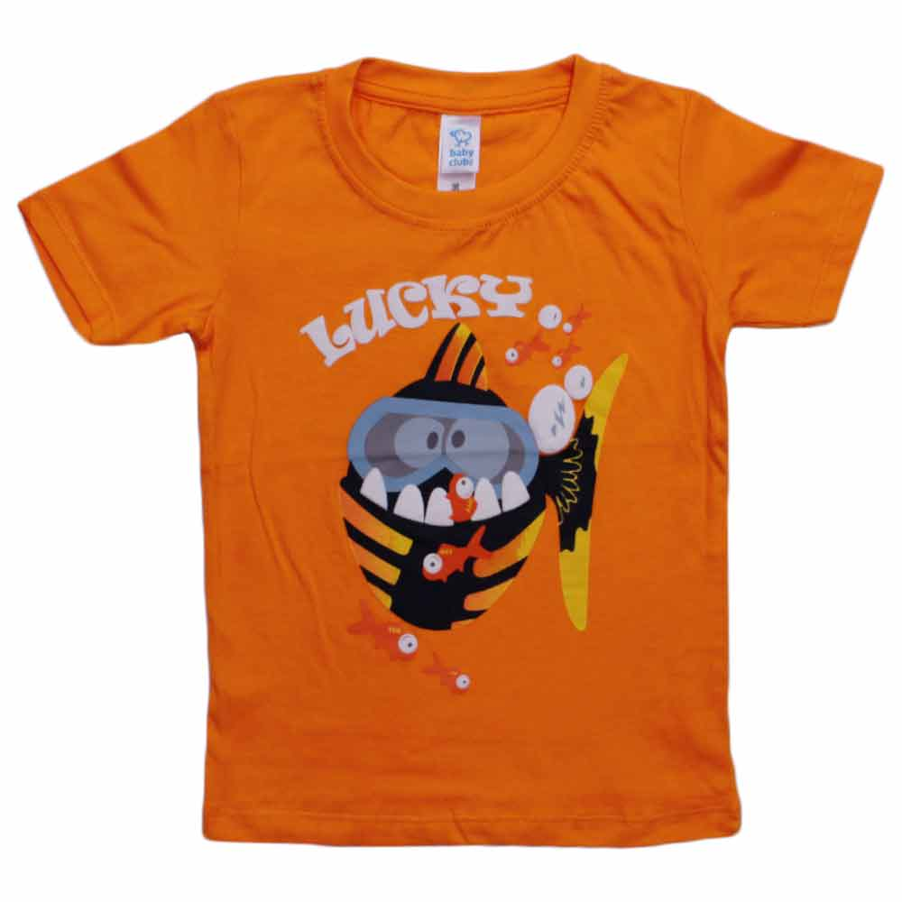 BABY CLUB Lucky Fish Orange Premium Cotton Boys Tshirt