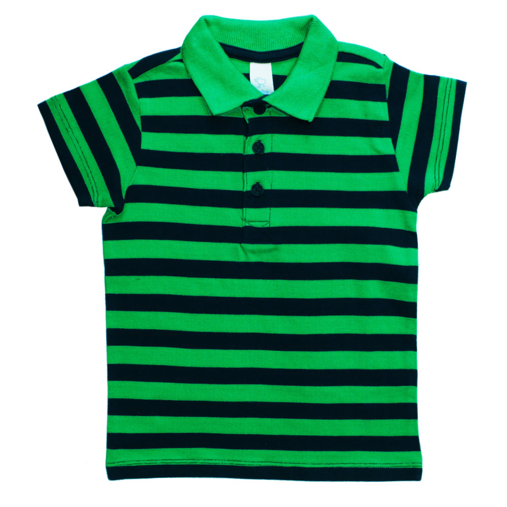 BABY CLUB Yarn Dyed Green and Blue Premium Cotton Pique Polo