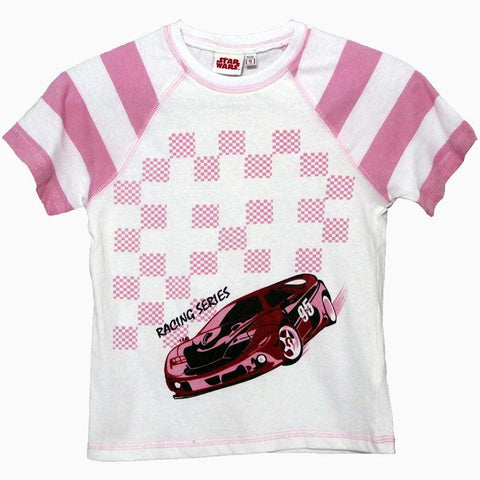 star wars racing series pink and white bot t-shirt