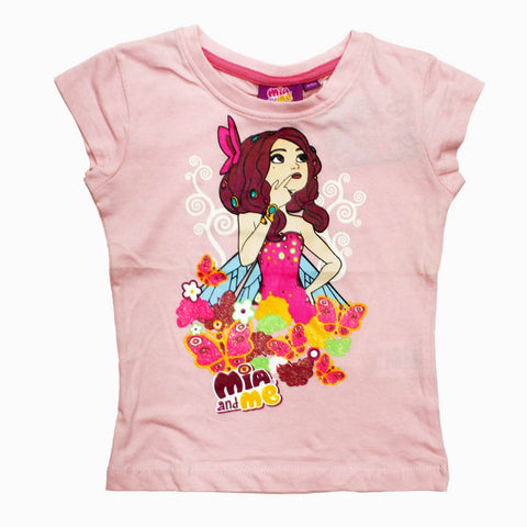 Mia and Me Girls baby Pink Premium Cotton Tshirt