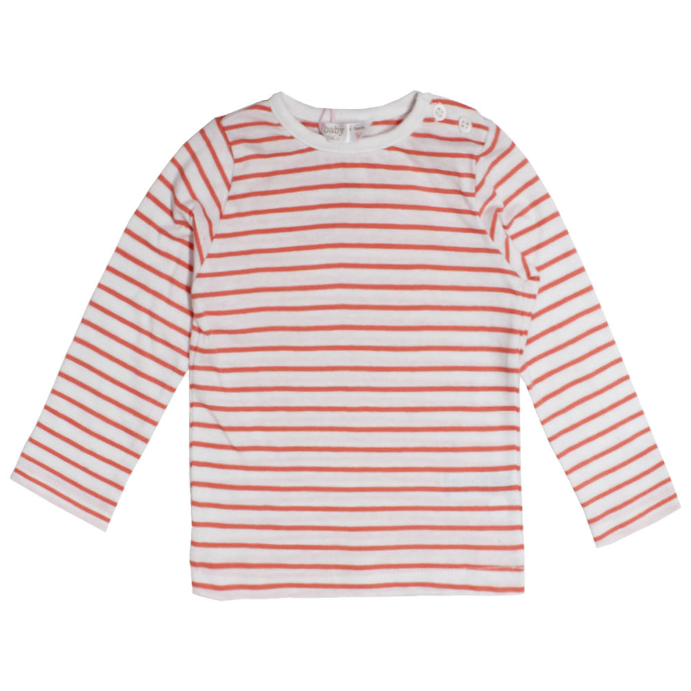 M And Co Orange And White Stripes Girls Cotton Tshirt