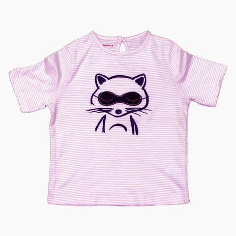 Baby Fox Applique eyes White and Baby Pink Stripes Girls Tshirt
