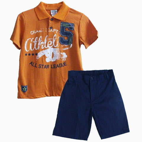 All star orange 2 piece boys set