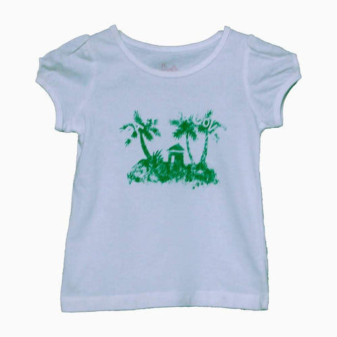 H+T Butterfly green tree white girls t-shirt