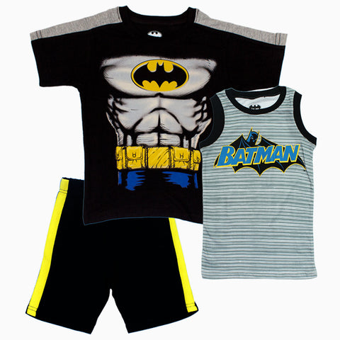 BatMan Chest Print Boys Black and Grey 3 piece Set