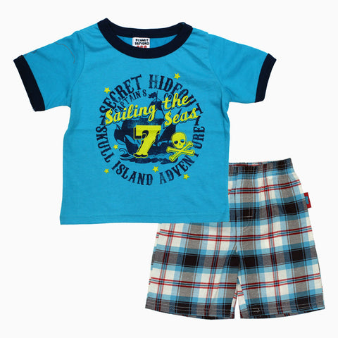 Peanut Buttons Sailing Seas Boys 2 Piece Blue Set