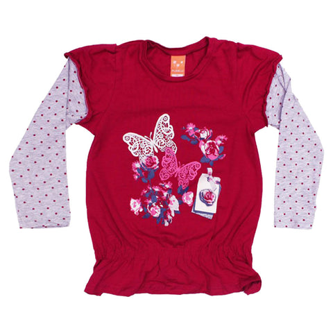 PUSBLU Butterflies Purple Fashion Elastic waist Frill Tshirt 2 Piece Set