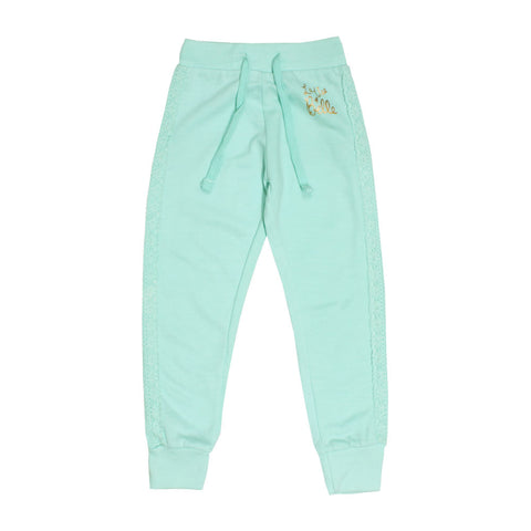 Love Belle Side Laced Cotton Terry Green Trouser