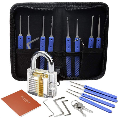Lock Pick Set, with 12 Hooks, 5 Tension Wrenches and Practice Lock