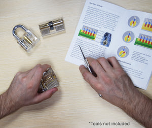 man learning lock picking using practice lock