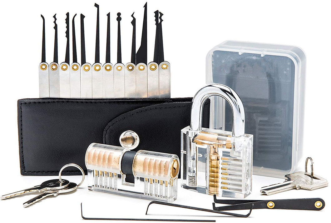 Lock Pick Set, 12 Hooks and 3 Wrenches, with Two Practice Locks