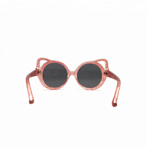 Kids Sunglasses Retro Cateyes Glitter Pink