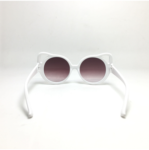 Kids Sunglasses Retro Cateyes White