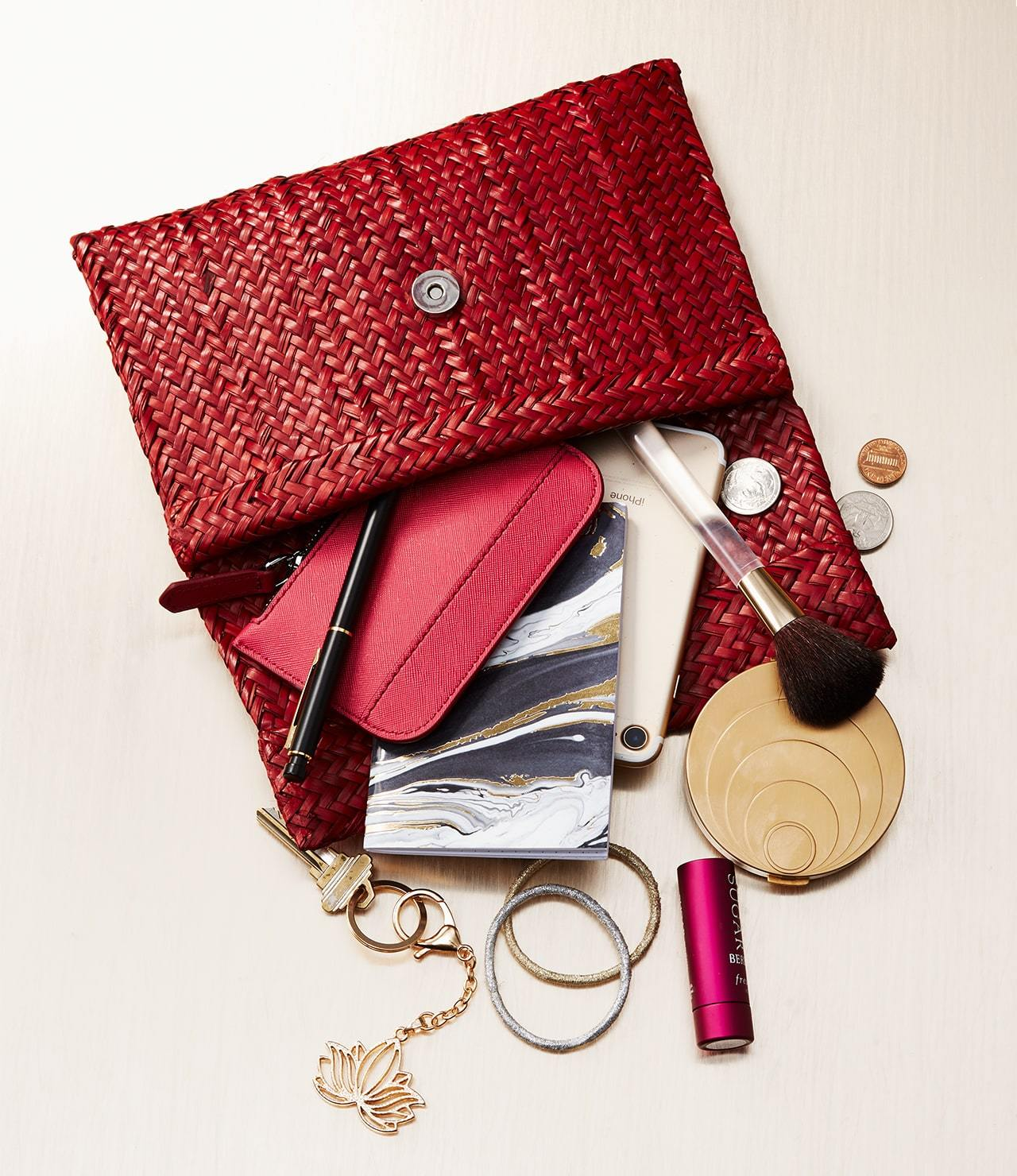 handmade clutch with objects_mobile
