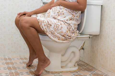 Pregnant Woman on the Toilet