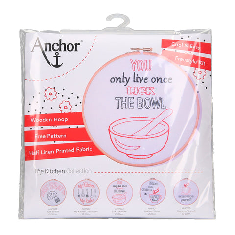 Anchor Lick the Bowl Hoop Embroidery Kit package
