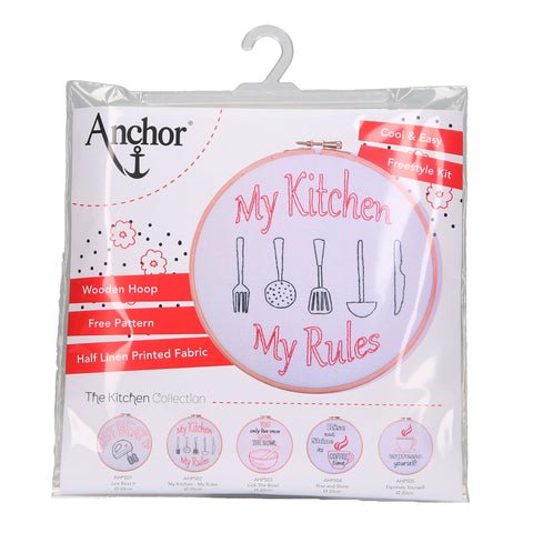 My Kitchen My Rules Embroidery Hoop Kit