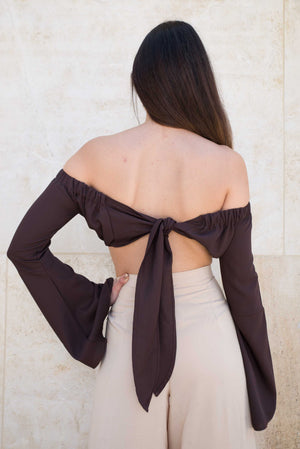 Bell sleeve tie up top
