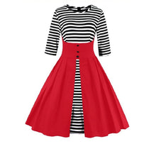 Load image into Gallery viewer, Round Collar Buttons Stripe Big Pendulum Dress