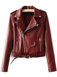 Brown Faux Leather Belted Moto Jacket With Zipper - Soul Rich Village