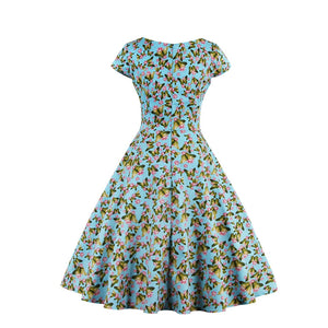 V-Neck A-Line Butterfly Print Short Sleeves Dress