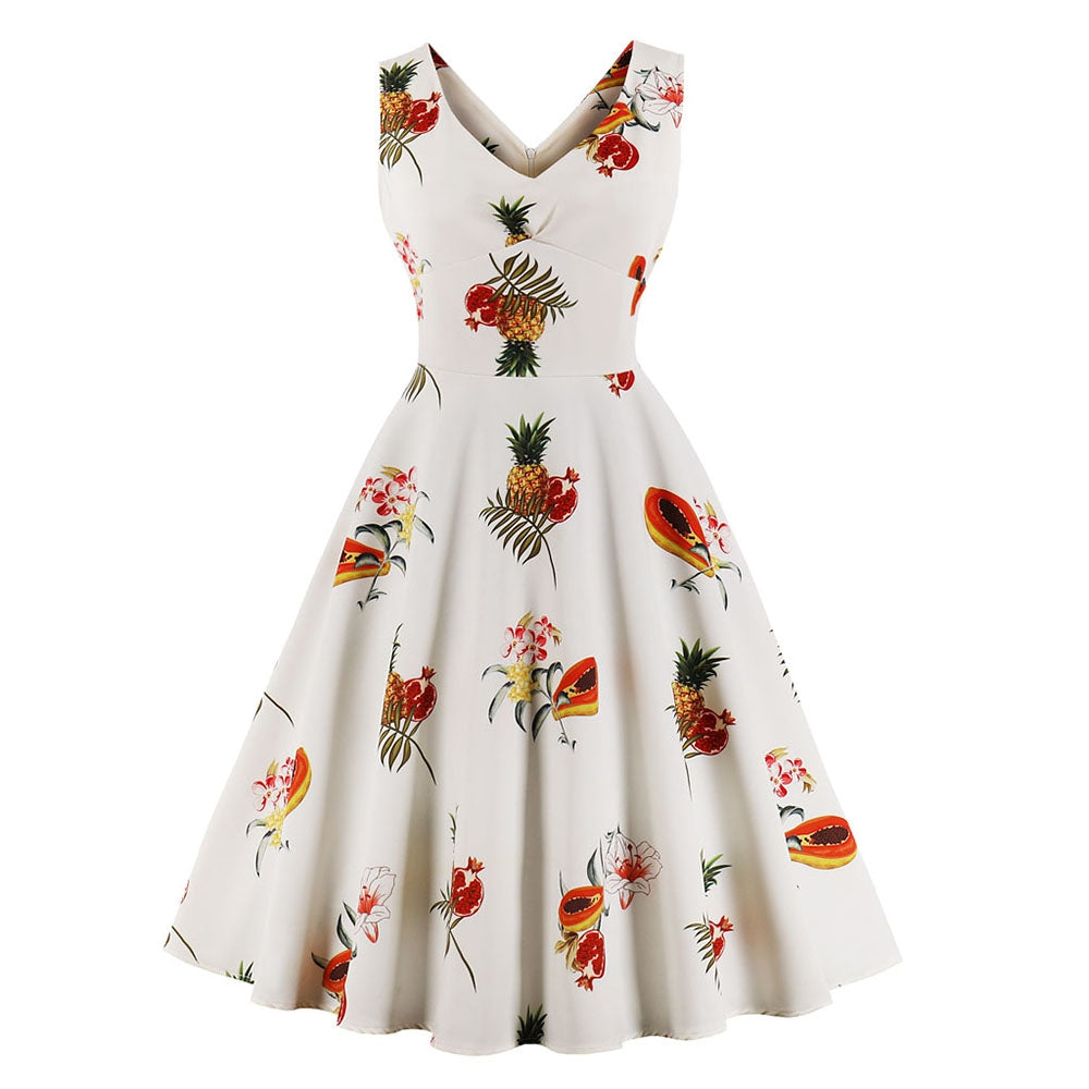 Plus Size V-Neck Fruit Printing Full Dress