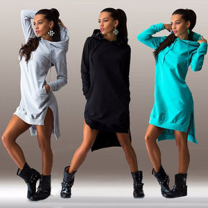 Solid Split Women Hoodies Sweatshirts Plus Size Asymmetrical Irregular Sportswears Long Sleeves Hooded Pullovers Feminino