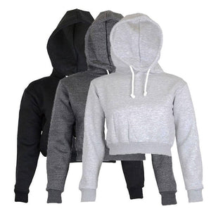 Autumn Women Hoodies Solid Crop Hoodie Long Sleeve Jumper Hooded Pullover Coat Casual Sweatshirt Top Sudaderas - Soul Rich Village
