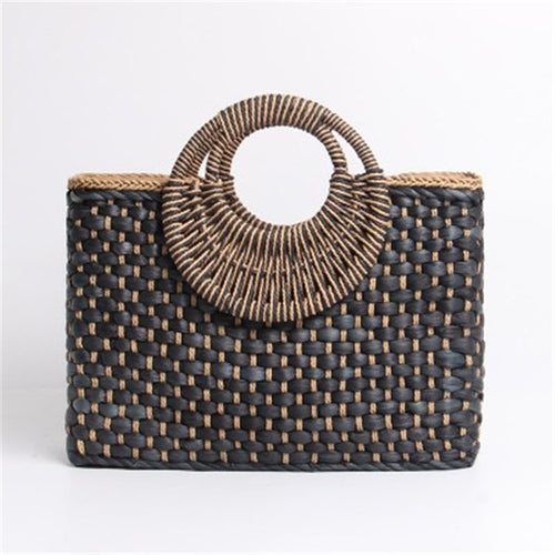 Hand basket shopping bag Black color Bali Island Hand Woven Bag Butterfly buckle Straw Bags Satchel Wind Bohemia Beach Bag - Soul Rich Village