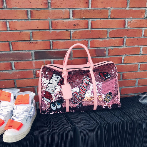 Travel Bag Sequins Overnight Bag Portable Duffle Bags Large Capacity Quitte Bags for Women Men Big Weekend Tote Pink