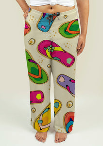 Ladies Pajama Pants with Flip Flop Pattern - Soul Rich Village