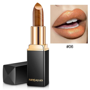 Brand Professional Lips Makeup Waterproof Shimmer Long Lasting Pigment Nude Pink Mermaid Shimmer Lipstick Luxury Makeup Cosmetic - Soul Rich Village