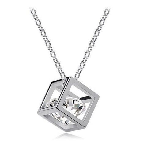 Women Chain Crystal Rhinestone Square Pendant Alloy Necklace Jewelry SL - Silver / one-size - Dipperly