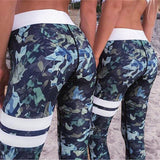 Banded Blue Camo Leggings