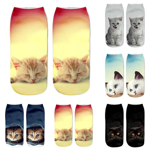 Cat Print Ankle Socks -  - Dipperly