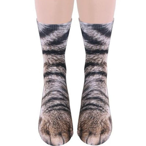 Animal Paw Crew Socks - Cat - Dipperly