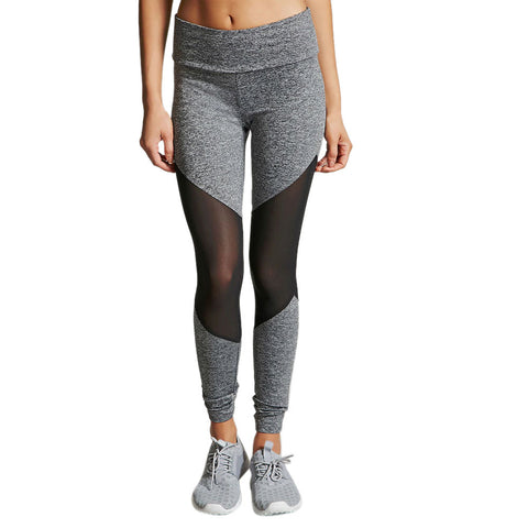 Gray Gym Leggings with Transparent Mesh