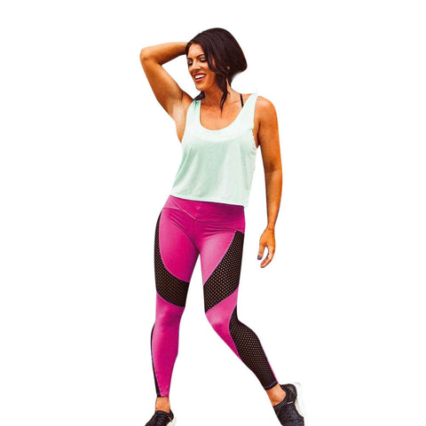 Hot Color Mesh Workout Leggings