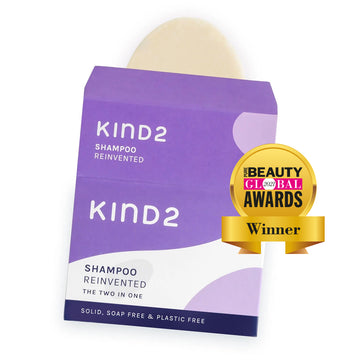 KIND2 The Two in One - solid shampoo and conditioner bar - product and box - PURE BEAUTY 2021 Award Winner