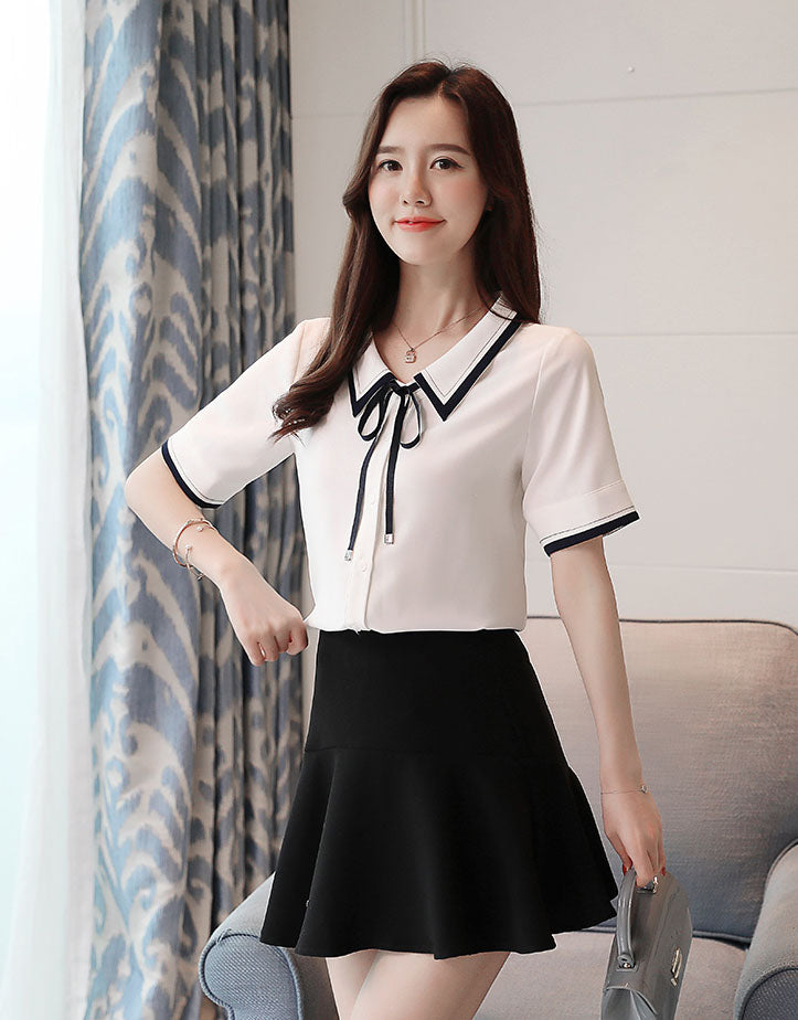 BL20012 Short Sleeve Bow Tie Blouse