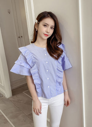BL20104 Short Sleeve Round Neck Ruffle Blouse