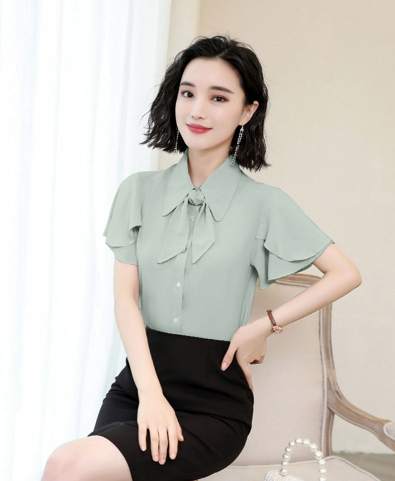 BL20112 Short Ruffle Sleeve Blouse with Detachable Ribbon